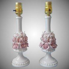 Porcelain Lamps Pink Roses White Vintage Boudoir Vanity Japan