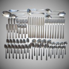 1930s Set Flatware Silver Plated Vintage National 69 Pieces NTS16