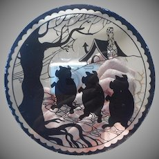 1930s Three Little Pigs Mirror Plaque Black Silhouette Sinister Halloween
