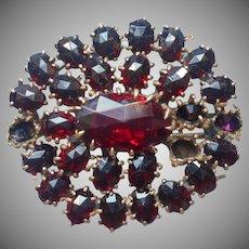 Antique Pin Glass Faux Garnets TLC Garnet Red Glass Stones