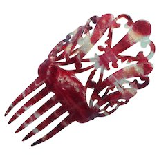 Celluloid Hair Comb Antique Smaller Red Streaked TLC