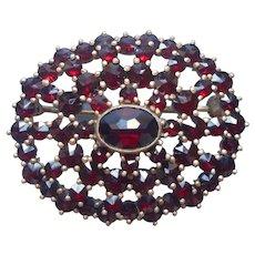 Garnet 800 Silver Gilt Wash Pin Brooch Vintage