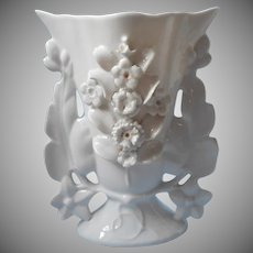 Antique Mantel Vase Classic White China Applied Flowers