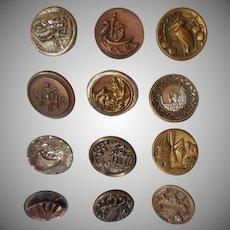 Victorian Buttons Metal Antique Assortment 12 Picture Etc
