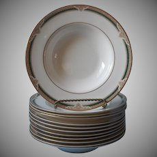 Royal Doulton Forsyth Rimmed Soup Bowls Flat Vintage Bone China England