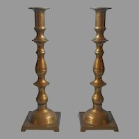 Brass Candlesticks Tall Pair Vintage Untouched Patina