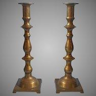 Brass Candlesticks Tall Pair Vintage Untouched Patina