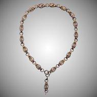 Victorian Chain Necklace Antique Tricolor Birds Y Drop For Locket Book