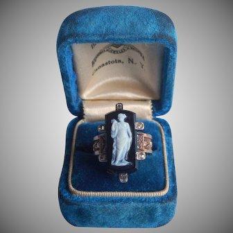 Victorian Ring Gold 10K Black Hardstone Cameo Diamonds 6