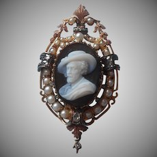 Outstanding Hardstone Cameo Pin 14K Pearls Diamonds Antique Victorian