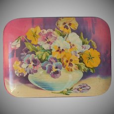 Toffee Tin Blue Bird Pansies Vintage English Harry Vincent Ltd Candy