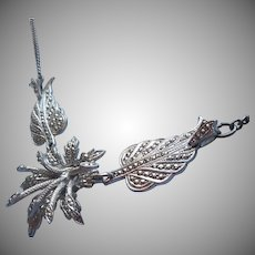 Marcasite Necklace Sterling Silver Necklace Leaves 3D Flower