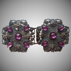 Antique Buckle Purple Glass Stones For Dress Belt ca 1900