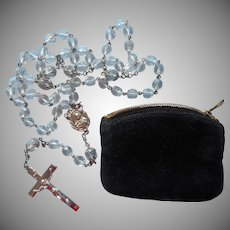 Classic Rosary 1940s Cut Crystal Beads Chrome Vintage Velvet Zipper Pouch