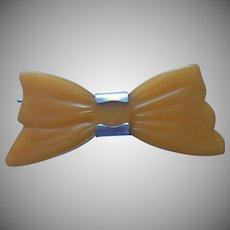 Bakelite Barrette Vintage Butterscotch Bow Shape Cute AsCan Be