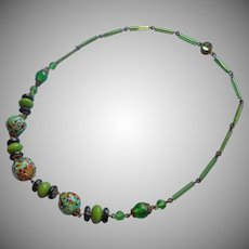 1920s Necklace Vintage Glass Beads Wire Glass Stone Clasp