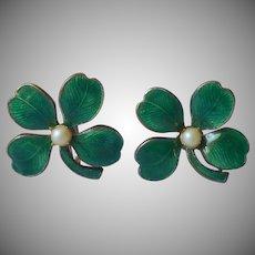 Enamel Earrings Four Leaf Clover Screw Back Vintage Faux Pearl