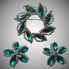 Weiss Pin Earrings Set Emerald Green Color Stones Blue AB Vintage