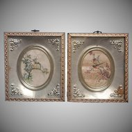 Framed Bird Prints Vintage Metal Frames Shadowbox Pale Green
