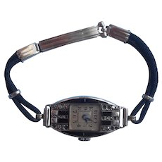 1920s Sterling Silver Watch Black Enamel Marcasite Vintage Art Deco