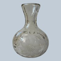 Antique Water Carafe Cut Glass Floral Late ABP Classic Bar Item