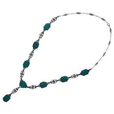 ca 1920 Chrysoprase Sterling Silver Marcasite Necklace Vintage Art Deco