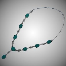 ca 1920 Chrysoprase Sterling Silver Marcasite Necklace Vintage Art Deco
