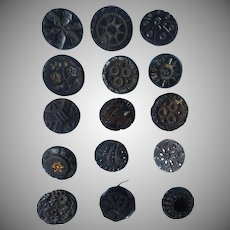 Victorian Buttons Black Glass 15 Assorted Antique