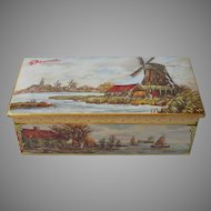 Droste Tin Vintage Chocolate Candy Windmill Scene Hinged