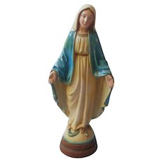 Chalkware Statue Virgin Mary Vintage Standing On Serpent 11.25 Inch