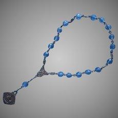 Sterling Silver Blue Crystal Beads Vintage Chaplet Saint Anne de Beaupre