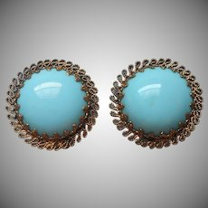 Vintage Earrings Turquoise Blue Opaque Glass Clip Filigree Austria