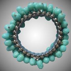Glass Cha Cha Bracelet Turquoise Aqua Blue Baroque Shaped Beads Vintage
