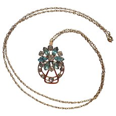 Aqua Rhinestones Gold Filled Pendant Necklace Vintage 1950s On Chain