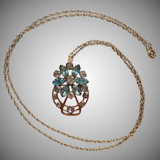 Aqua Rhinestones Gold Filled Pendant Necklace Vintage 1950s On Chain