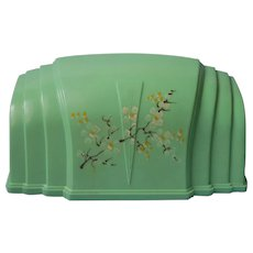Headboard Lamp Vintage Aqua Green Hard Plastic Hand Painted Flowers