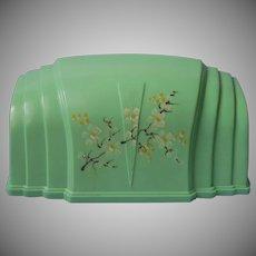 Headboard Lamp Vintage Aqua Green Hard Plastic Hand Painted Flowers