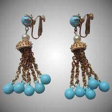 1960s Coro Dangle Chandelier Earrings Turquoise Blue Plastic Faux Pearls Vintage