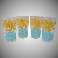 Aqua Yellow Tumblers Vintage Printed Glasses