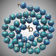 Cloisonne Enamel Beads Vintage Necklace Turquoise and Blue