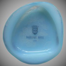 French Opaline Glass Hotel Ashtray Pin Dish Vintage Normandy Opalex Blue