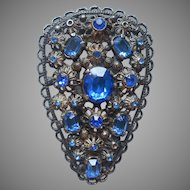Dress Clip 1930s Vintage Blue Glass Stones Antiqued Silver Tone