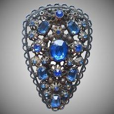 Dress Clip 1930s Vintage Blue Glass Stones Antiqued Silver Tone