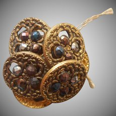 Victorian Buttons Tinted Cut Steel Filigree Set 7 Antique