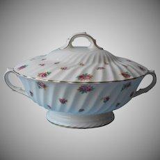 Royal Doulton Rosebud Round Serving Bowl With Lid Large Vintage Bone China Roses