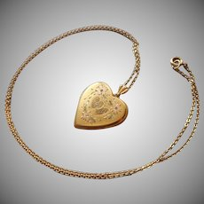 1940s Locket Heart Shape Gold Filled On Chain Necklace Vintage Monogram L.F. and M.