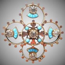 Victorian Pin Turquoise Blue Glass Antique Quatrefoil