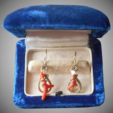 Victorian Earrings Branch Coral Antique Pierced