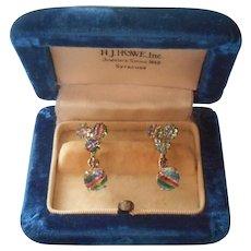 Iris Stone Earrings Vintage 835 Silver European Screw Back Dangle