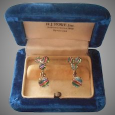 Iris Stone Earrings Vintage 835 Silver European Screw Back Dangle